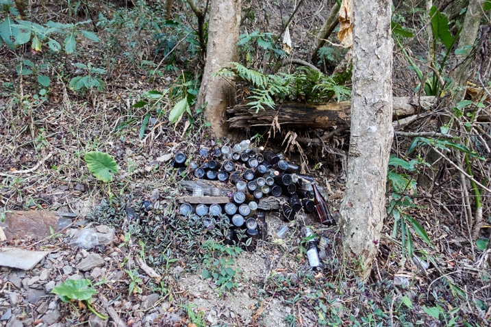 Many bottled jammed into mountainside - trees above and below