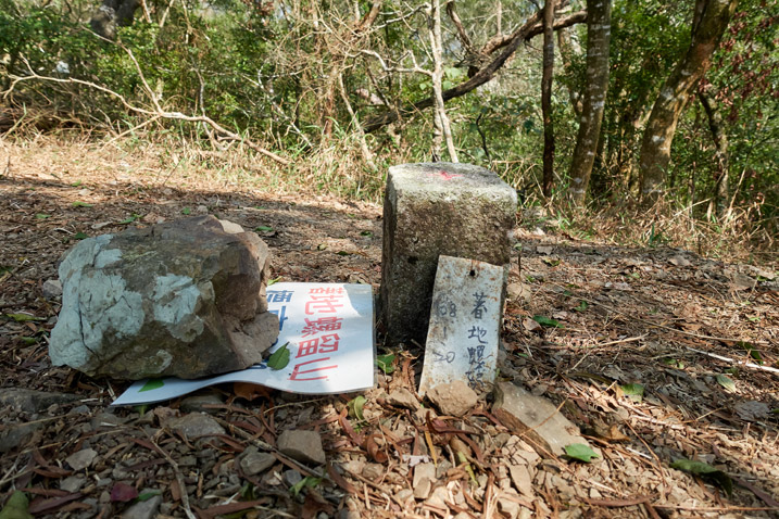 Triangulation stone - small metal sign leaning against it - laminated paper with rock holding it down