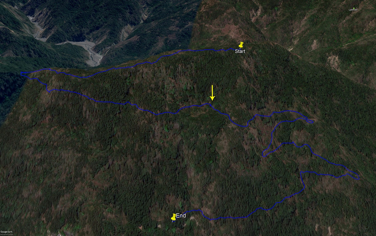 Google Earth map of route to ZhuoDiLuoLiuShan - 著地螺留山