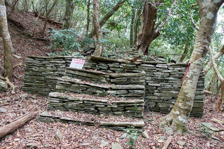 Many stones stacked to form stairs and a structure behind it - trees beyond