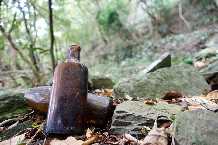 Two old brown bottles near stones