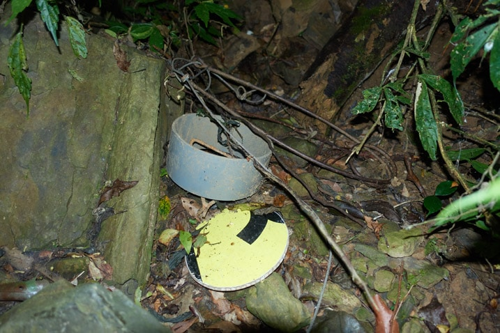 Several parts of an animal snare trap lying on ground