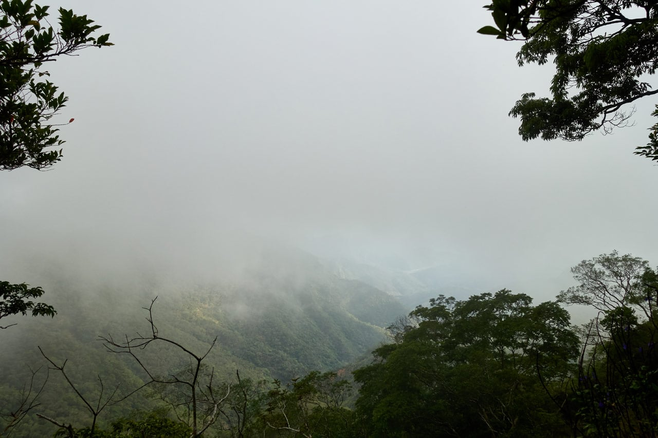 Fog blocking view of mountains
