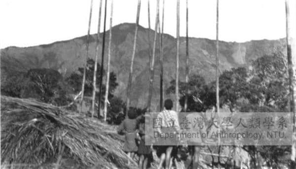 Black and white photo of Tjakuvukuvulj Village a long time ago - mountain in distance - people holding up long poles