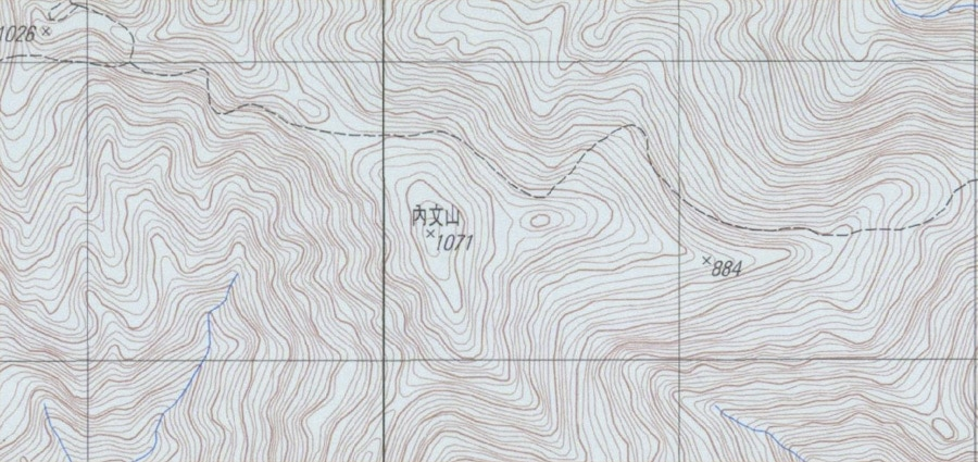 Topographic map with 內文山 written in center