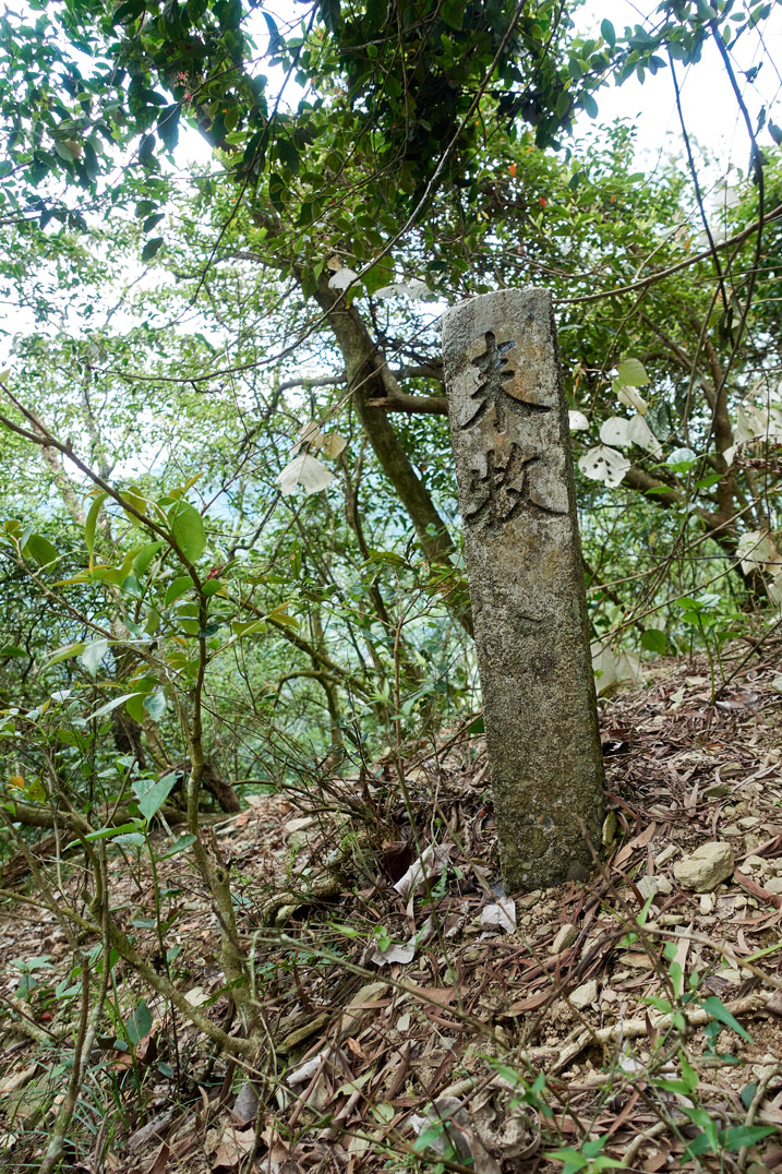 Stone pillar rising from the ground with two Chinese characters written on it