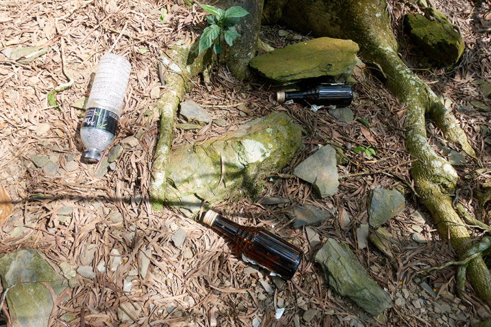 Glass and plastic bottles littered on the ground