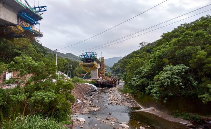Construction on bridge overpass - river below