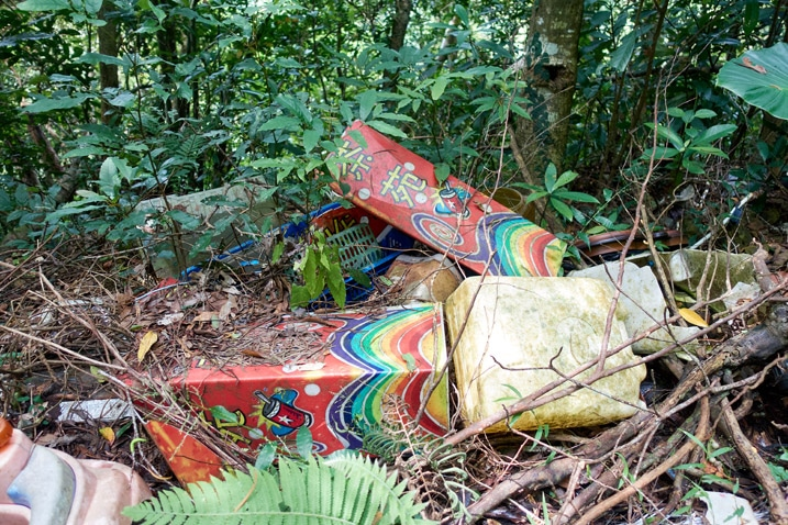 Old childrens toys dumped in the mountains