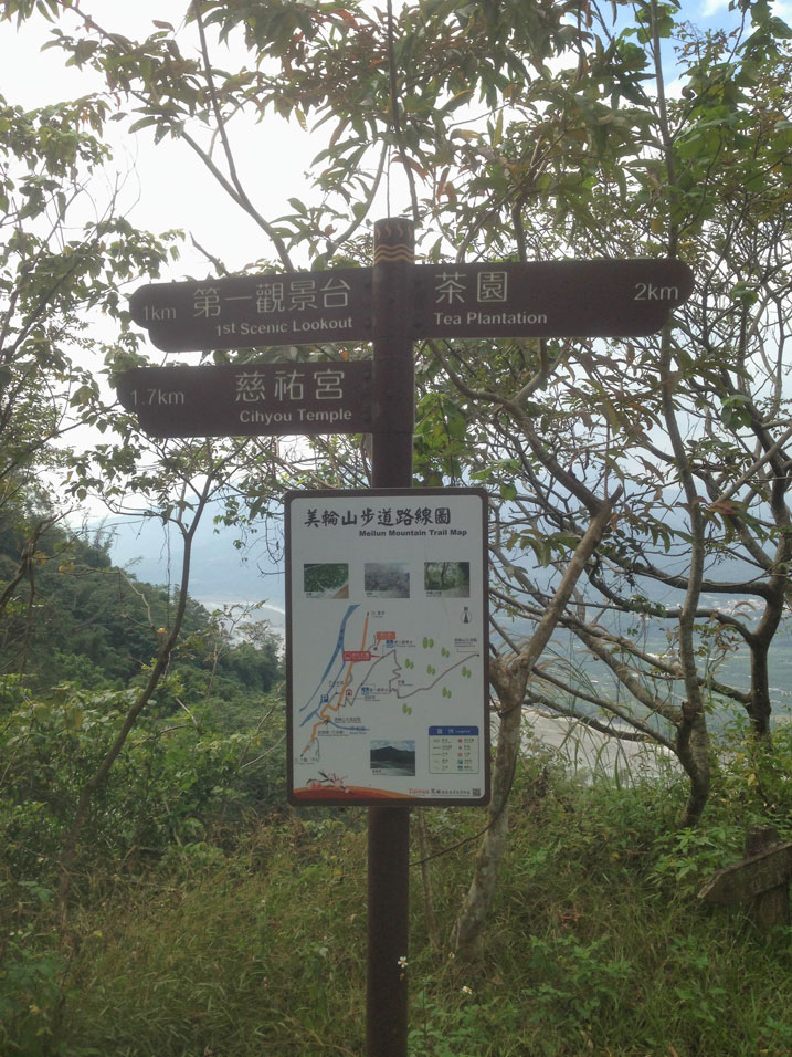 Trail signs of hiking area