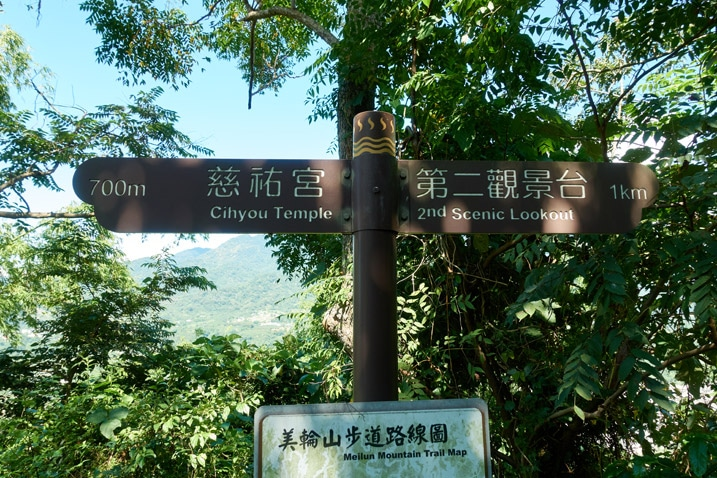 Sign post along hiking trail