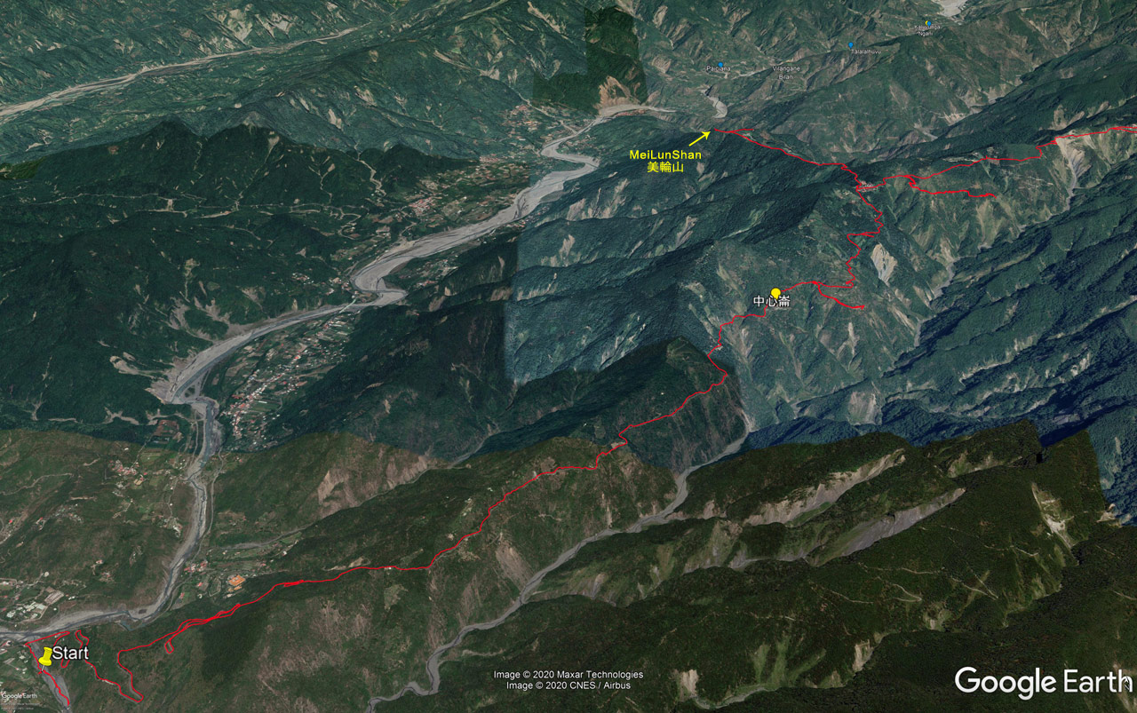 Google Earth map of road route to MeiLunShan - 美輪山