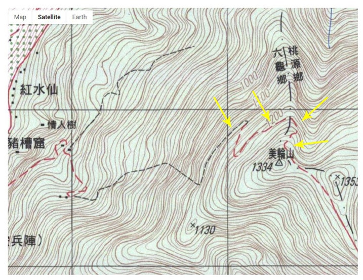Contour map of Meilunshan area