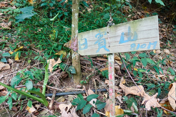 Wood sign with 白賓山 painted on it