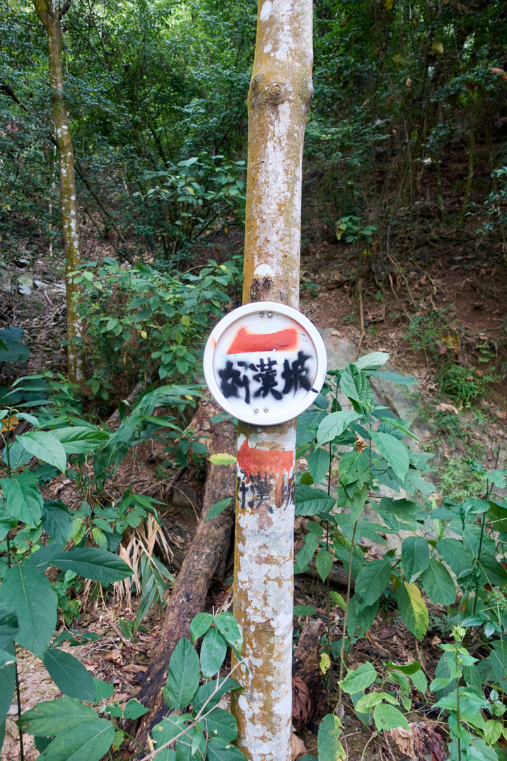 Simple circular sign in Chinese with arrows pointing in opposite directions