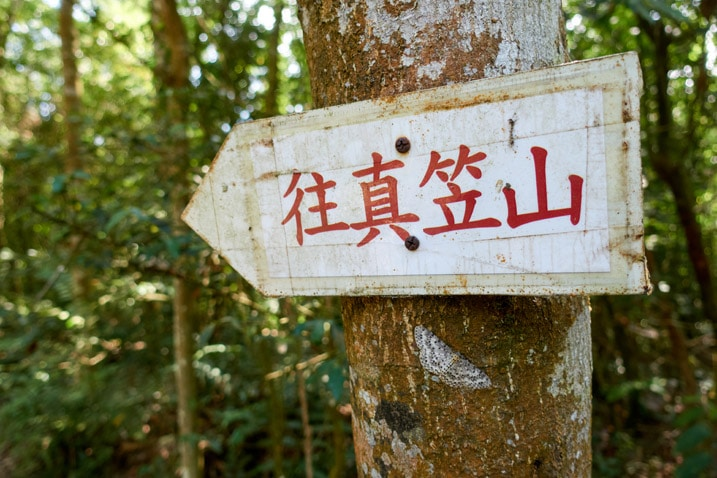 White sign attached to tree pointing to the left with Chinese characters written on it