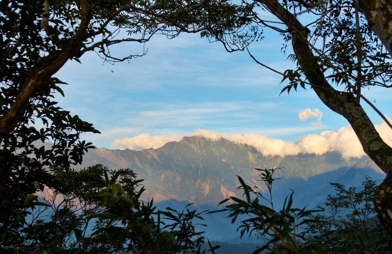 Landscape picture of mountains in distance - blue sky with white clouds - trees create a picture frame around mountains