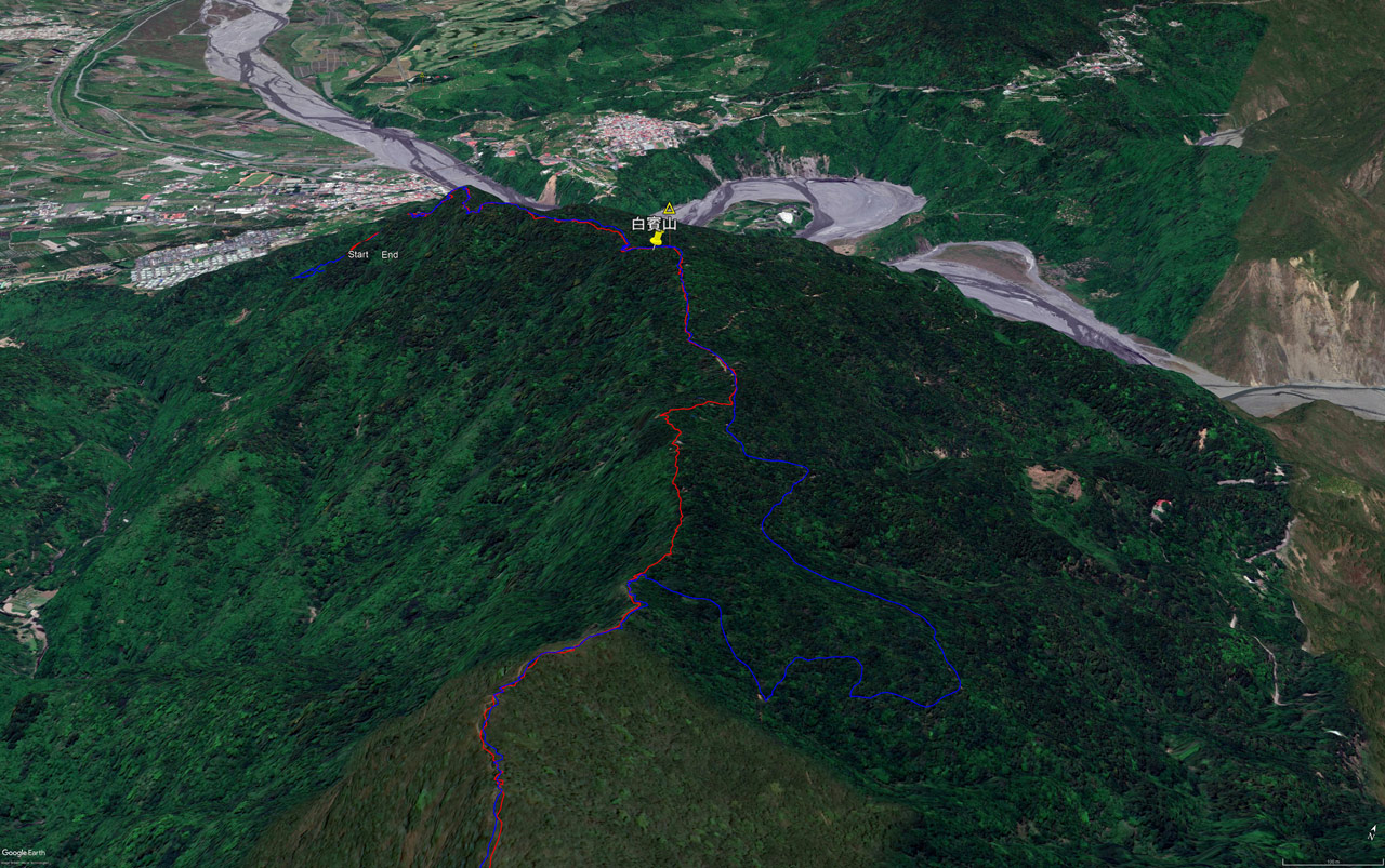 Google Earth map of 白賓山 - Baibinshan - trail