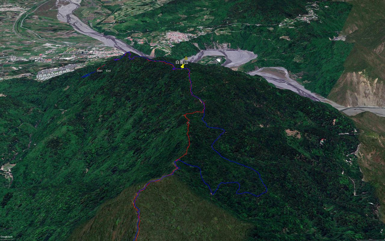 Google Earth map of 白賓山 - Baibinshan - trail