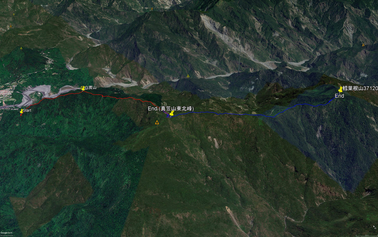 google earth map of hiking routes to three mountain peaks