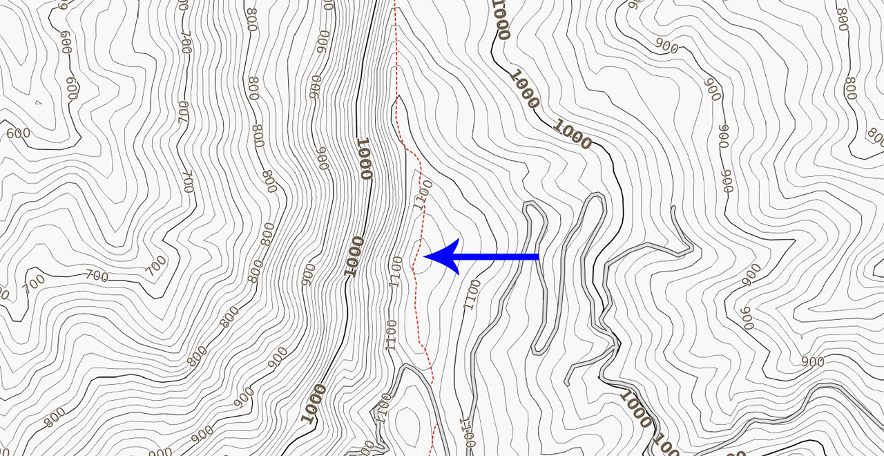 topographic map with blue arrow