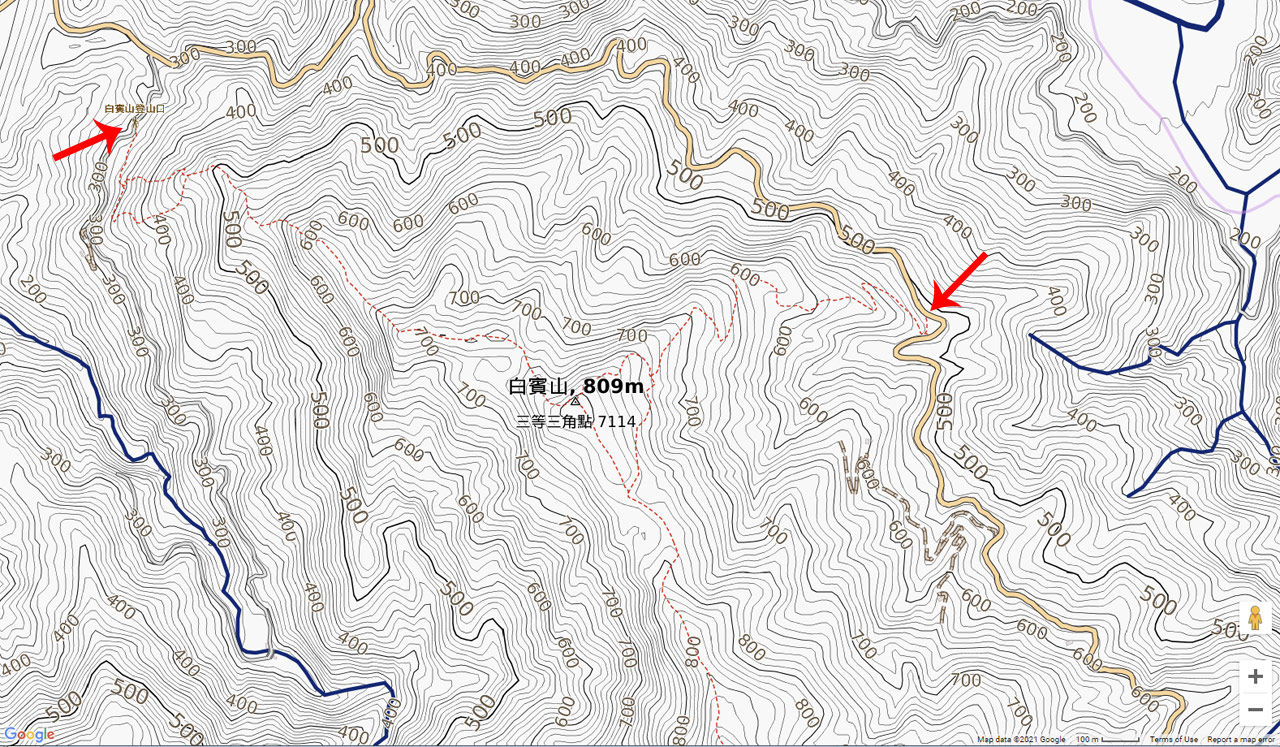 topographic map of Baibinshan 白賓山 area