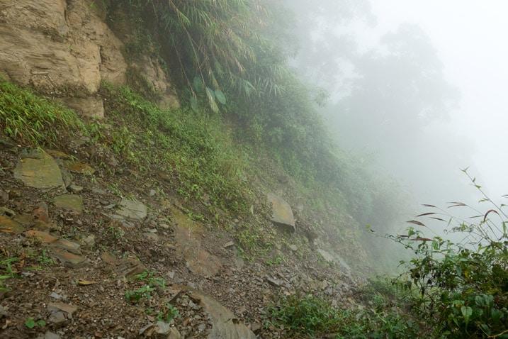 Looking down at a landslide