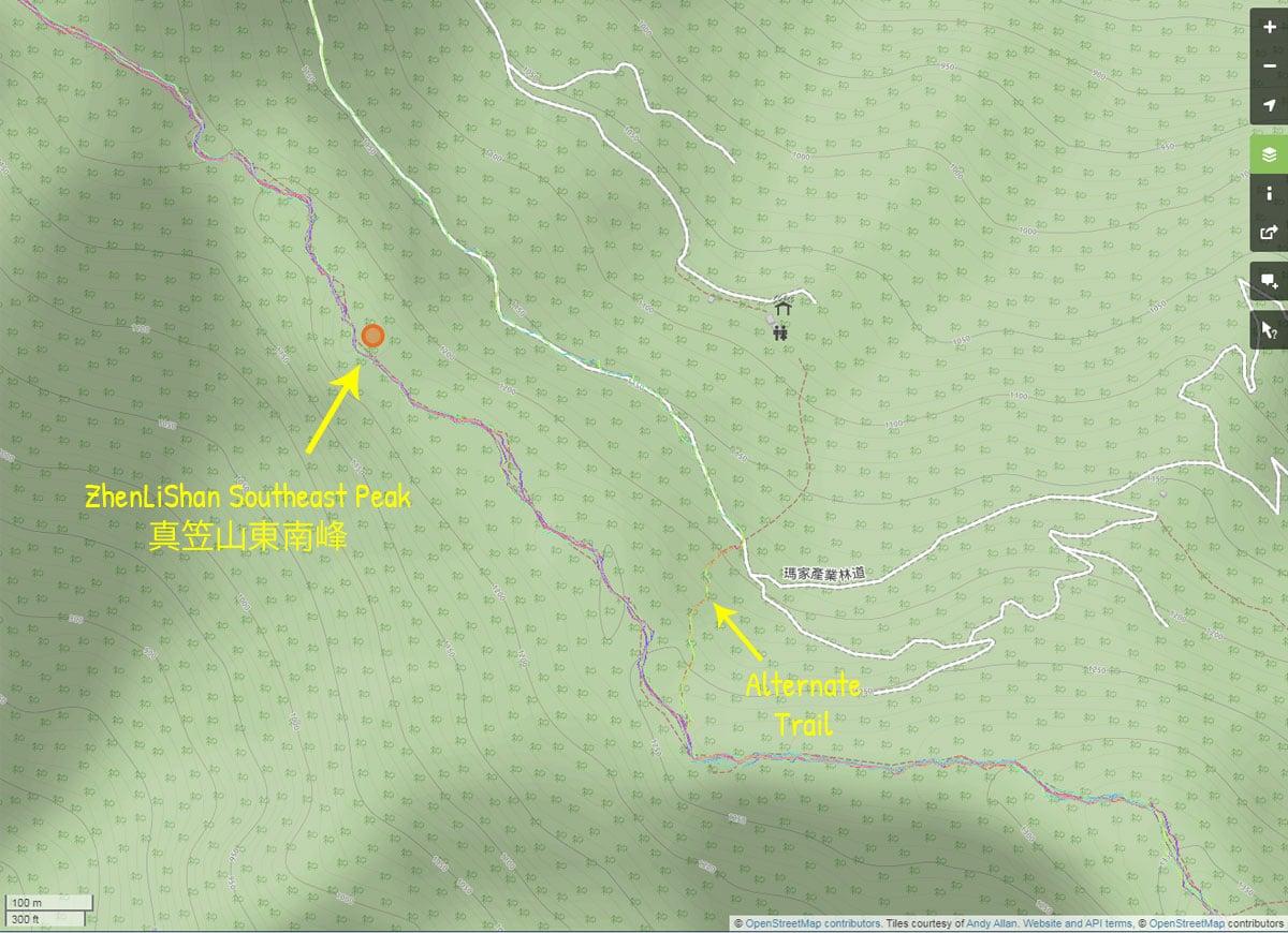 Map of alternate trail to 鱈葉根山 - XueYeGenShan