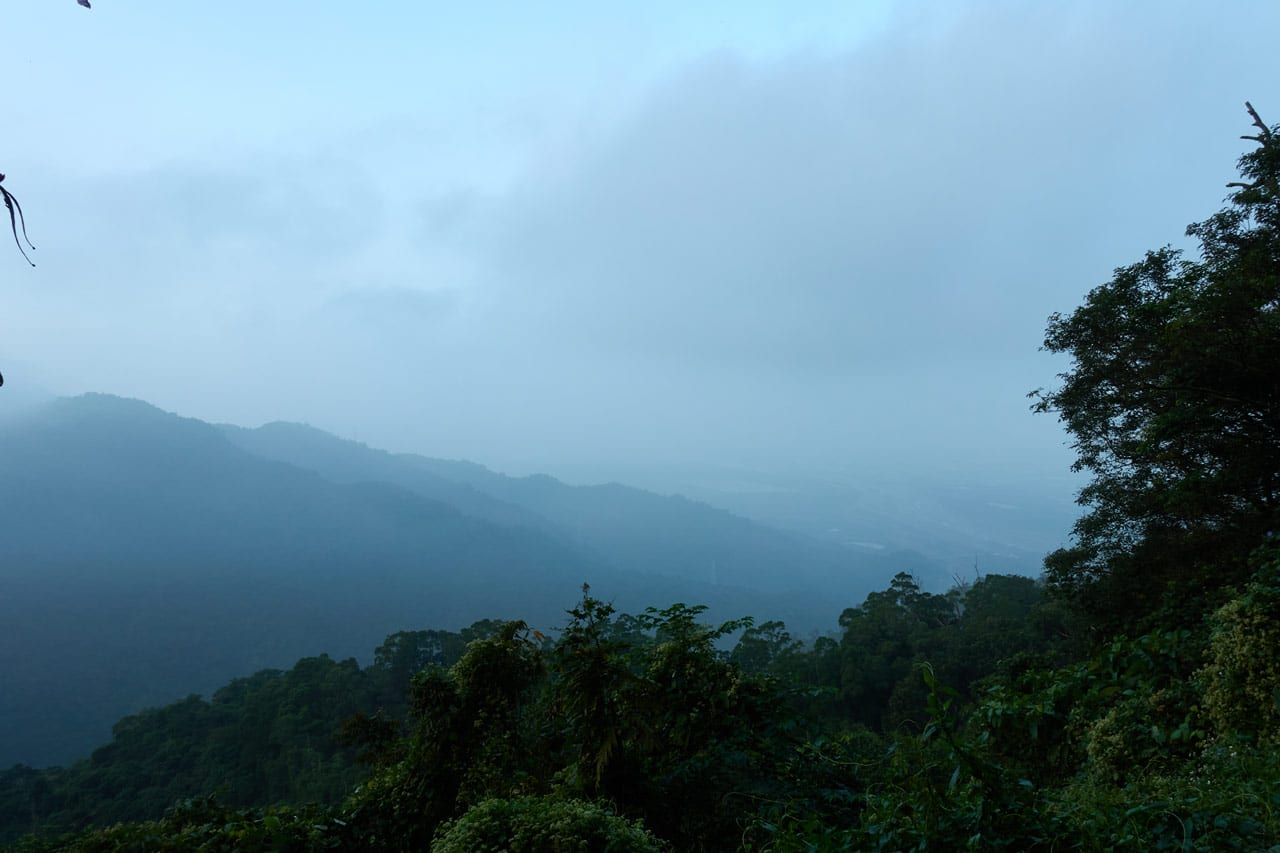 mountains in background - cloudy early day j- foggy