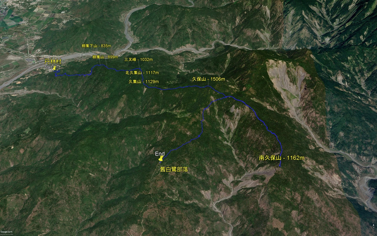 Google earth map - hiking trail route - mountain peaks labeled