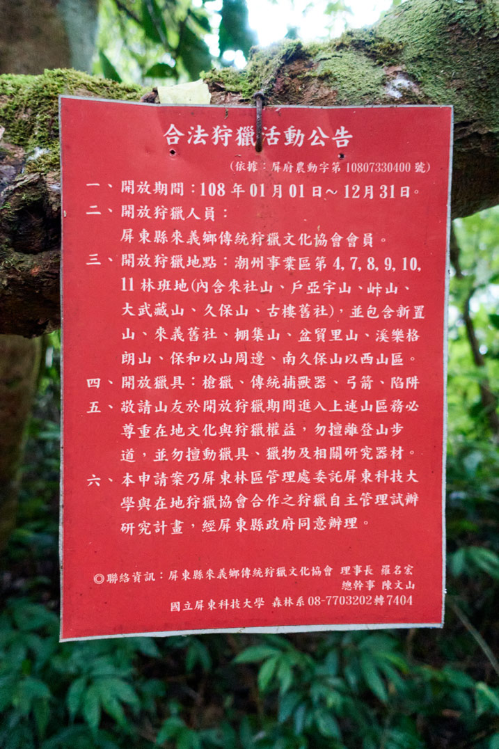 Red official looking sign attached to tree