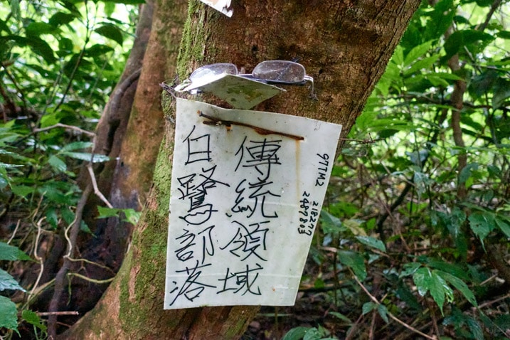 White sign attached to tree with black Chinese writing on it - lost glasses at top of sign