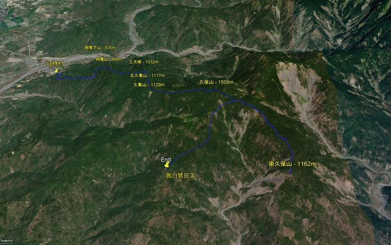 Post featured image - google earth map of hike
