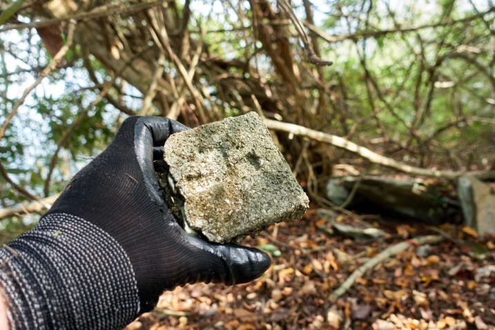 Gloved hand holding the top of a stone marker - trees in background