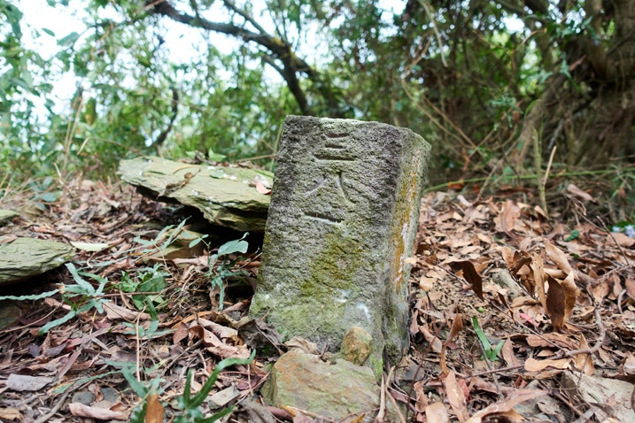 Closeup of triangulation stone of DaLaiShan West Peak - 達來山西峰