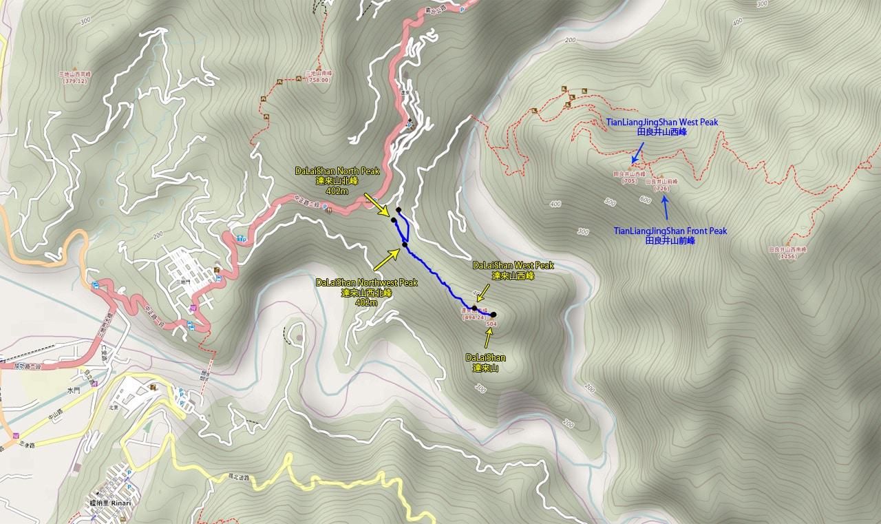 Map of Sandimen area and DaLaiShan - 達來山 hiking route