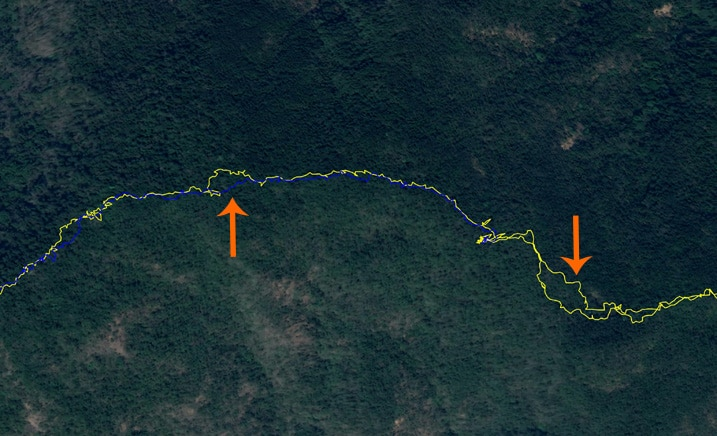 Google Earth map of GPX tracks