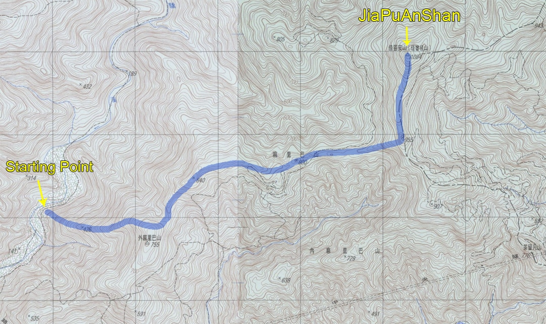 Topo map of route to JiaPuAnShan - 佳菩安山