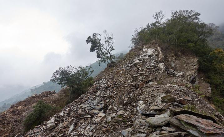 Rockslide on ridge - trees and fog