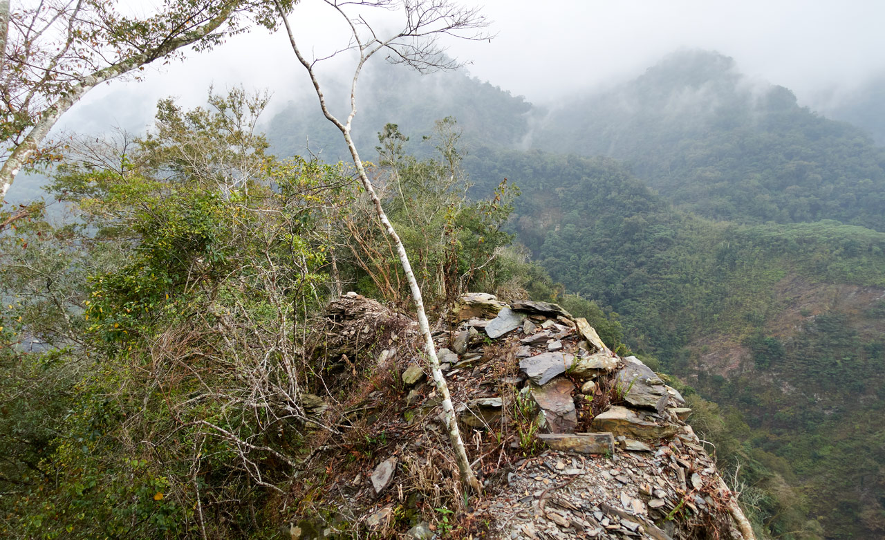 The top of a very thin, crumbling ridge - trees and mountain in distance