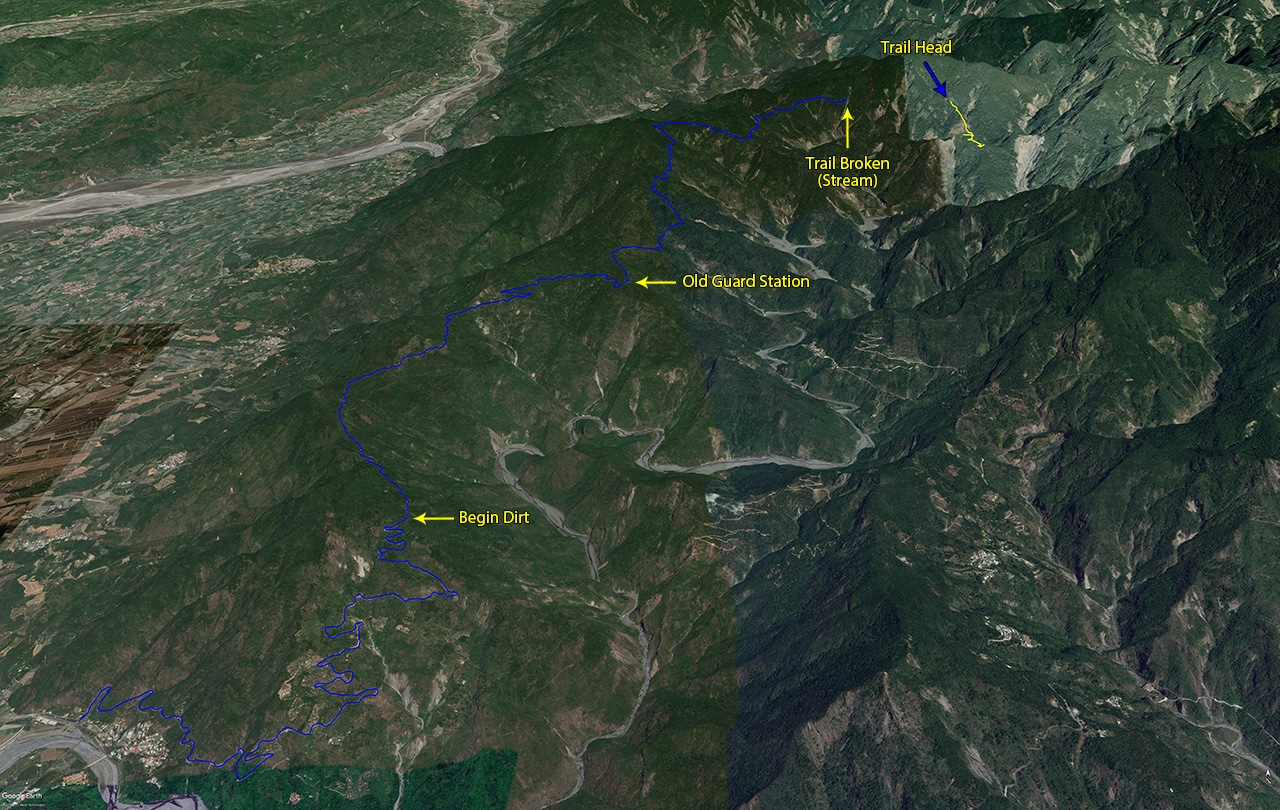 Google Earth Map with hiking route drawn and labels