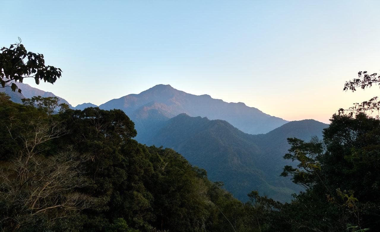 Mountain landscape around dusk