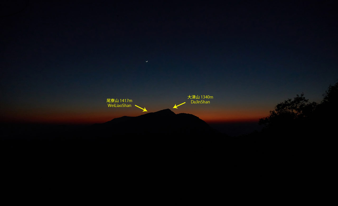 Night picture of mountain range - two peaks labeled
