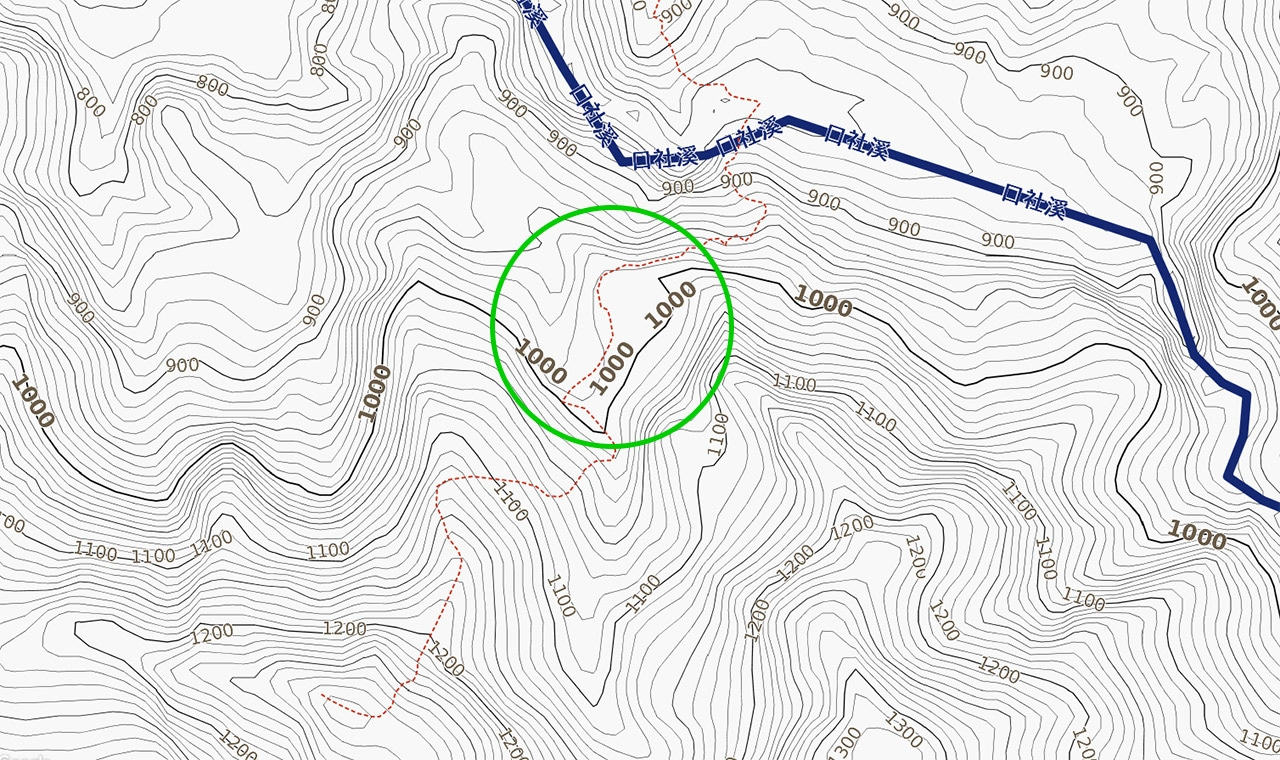 Topographic map with green circle