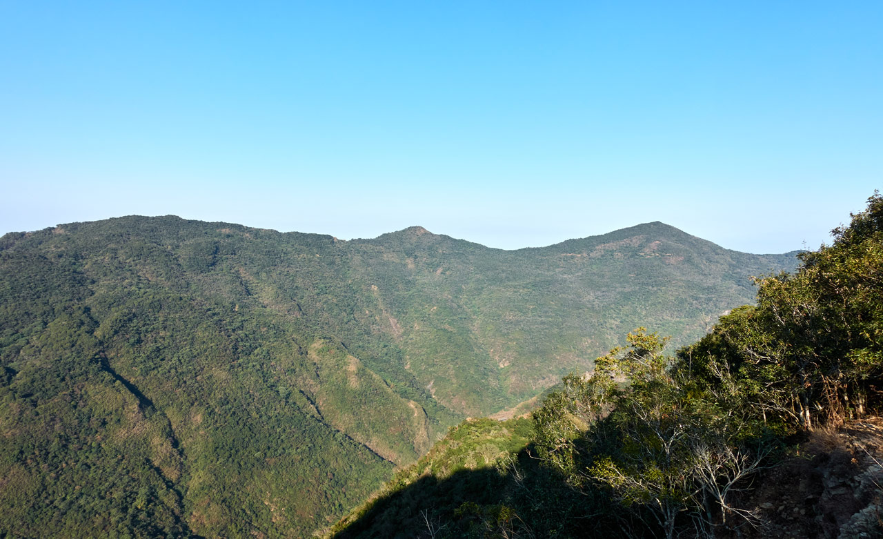 Panoramic shot of mountains and blue sky